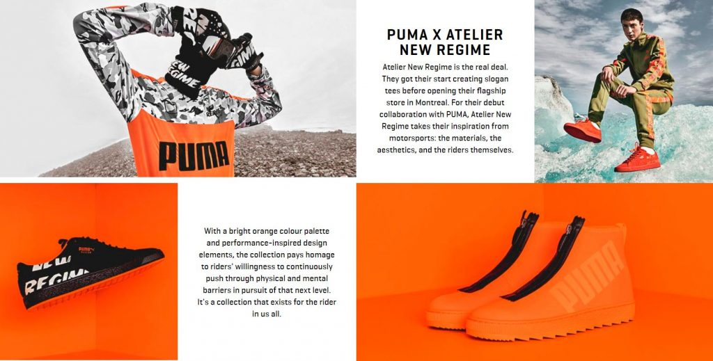 PUMA x Atelier New Regime feature grid