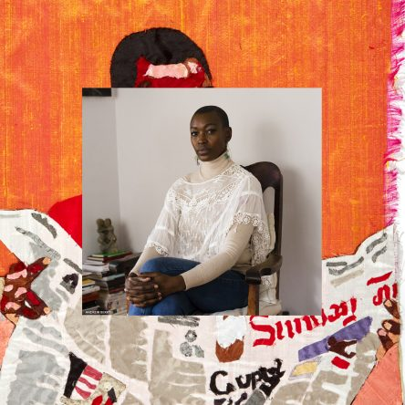 Photograph edit of Billie Zangewa sat on a chair overlayed on her artwork depicting a Black woman holding a newspaper